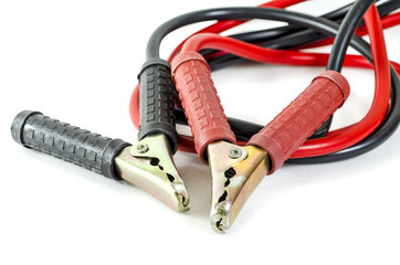 A pair of jumper cables :Clipping path included