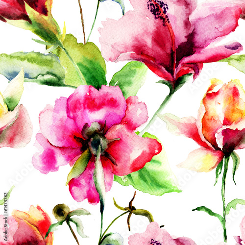 Obraz Seamless pattern with Original Summer flowers