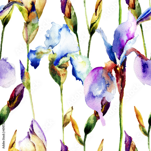 Foto op Canvas Iris Seamless pattern with Iris flowers