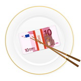 plate chopsticks and ten euro pack