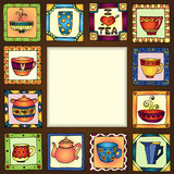 Tea cups and pots frame hand drawn design.