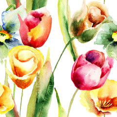 Watercolor illustration of Tulips flowers