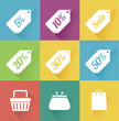 Vector set of modern flat sale icons. Shopping.