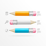Vector text boxes, infographics, icon and pencil