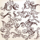Set of vector swirls for design