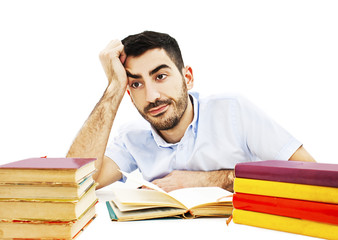 Student preparing for the exams on white background
