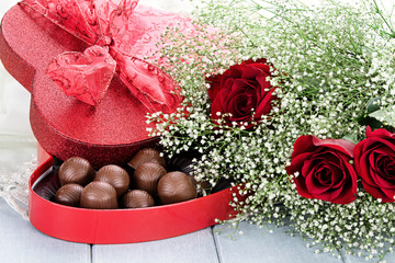 Box of Chocolates and Beauitful Roses