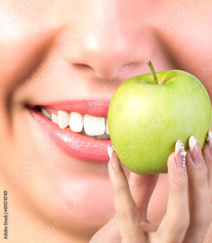 White Healthy Teeth Woman.Vitamin for Health Teeth