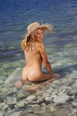 Pretty blonde in the sea.