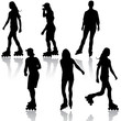 Silhouettes of people rollerskating. Vector illustration. - 61475565
