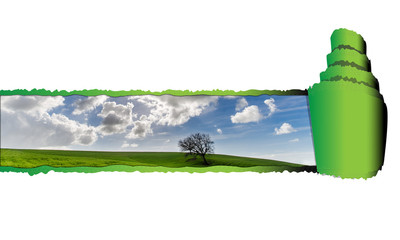 Carta strappata con immagine della natura