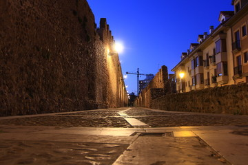 Night image of the medieval streets of the city of Leon, Spain
