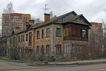 Russia , Moscow region. Old wooden two-storey house