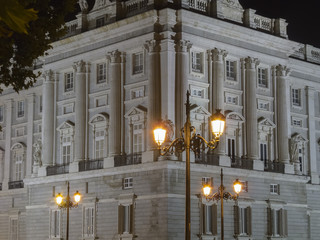 Night view of the East Palace in Madrid, Spain