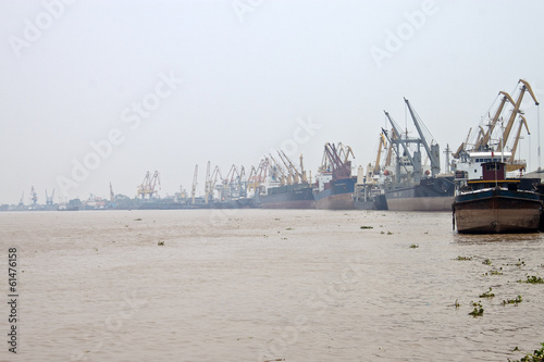 Cargo ships in a port of Hai Phong, Vietnam