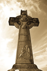 saint Columba memorial celtic cross in sepia