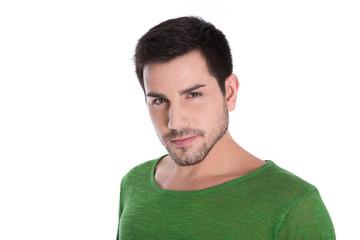 Gesicht: attraktiver schöner Mann in Pulli grün