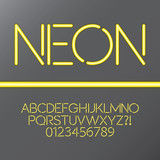 Yellow Neon Tube Alphabet and Numbers, Eps 10 Vector
