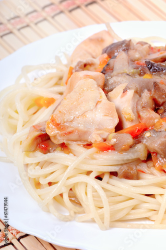 Spaghetti with chicken meat