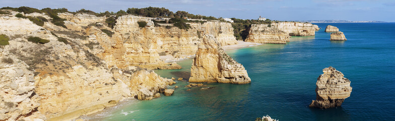Panoramic view on Praia da Marinha, Algarve, Portugal.