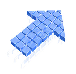 Arrow icon made of blue cubes