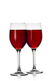 Two Wine Glasses with Red Wine on White Background