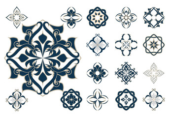 Set of arabic decor elements, vector, Ramadan
