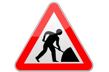 Warnschild, Rot, Achtung, Baustelle