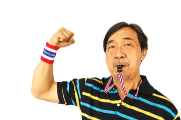 thai man blow a whistle and fist