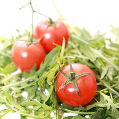 Fresh rucola with tomatoes isolated on white.