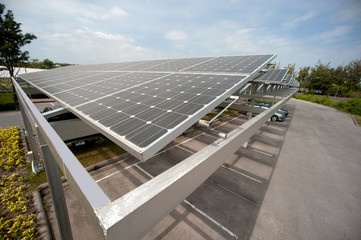 Solar cell on roof at car park.