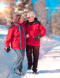 walking in snow 01 / seniors in winter