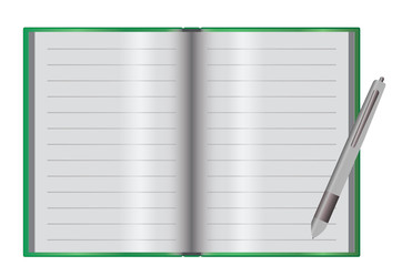 Empty notebook on a desk