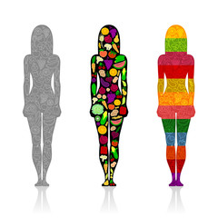 Silhouettes of girls with fruits and vegetables