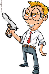 Cartoon angry office worker with a gun