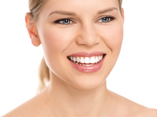 Dental care woman with perfect white toothy smile.