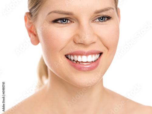 canvas print picture Dental care woman with perfect white toothy smile.