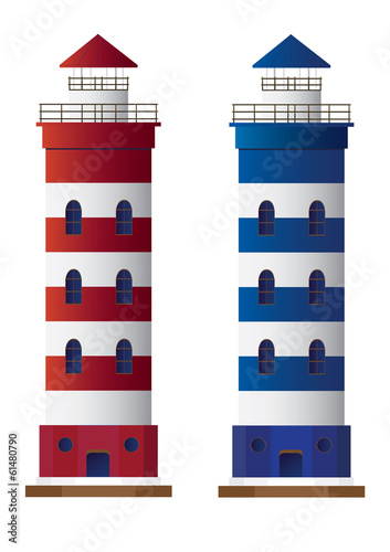 Vector lighthouse isolated on white background.