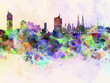 Vienna skyline in watercolor background