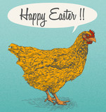 Hand Drawn Chicken - Easter Card Design