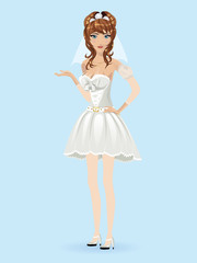Romantic cartoon bride