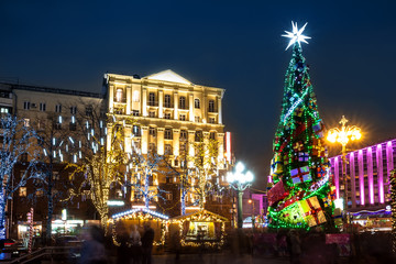 Night illumination of Moscow streets on Christmas and New Year