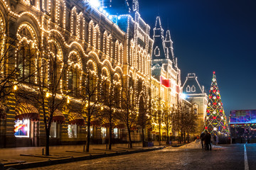 Red Square and Moscow state department store (GUM) at night.
