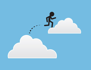 Figure jumping from one cloud to another