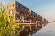 Row of Dutch modern canal houses in Almere