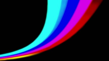 Graphic abstract rainbow on black.