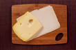 Cutting board and cheese