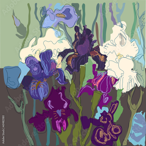 Bloom colorful delicate irises