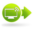 écran de télévision sur symbole web vert