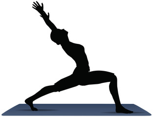 vector illustration of Yoga positions in Warrior Pose